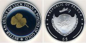 5 Dollar Palau Silver