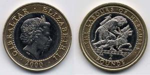 2 Pound Gibilterra Bimetal Elisabetta II (1926-)