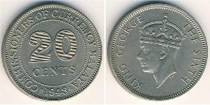 20 Cent Union malaise (1946 - 1948) Cuivre/Nickel George VI (1895-1952)