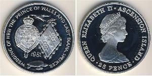 25 Penny Reino Unido (1922-) Plata Isabel II (1926-)