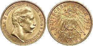 20 Mark Kingdom of Prussia (1701-1918) Gold Wilhelm II, German Emperor (1859-1941)