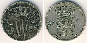25 Cent Royaume des Pays-Bas (1815 - ) Argent