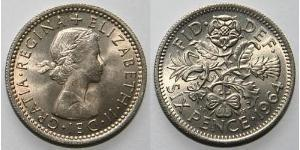 1 Sixpence / 6 Penny United Kingdom (1922-) Brass/Nickel Elizabeth II (1926-)