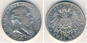 2 Mark Grand Duchy of Baden (1806-1918) Silver