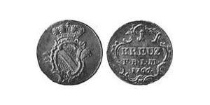 1 Kreuzer Margrave of Baden-Durlach (1535 - 1771) Copper