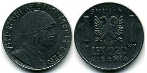0,20 Lek Albanian Kingdom (1939-1943) Acciaio inossidabile Vittorio Emanuele III d