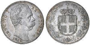 5 Lira Kingdom of Italy (1861-1946) Plata Umberto I (1844-1900)