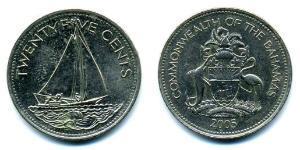 25 Cent Bahamas Níquel/Cobre