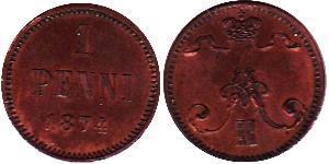 1 Penny Russian Empire (1720-1917) / Finland (1809 - 1917) Copper Alexander II of Russia (1818-1881)