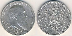 5 Mark Impero tedesco (1871-1918) / Grand Duchy of Baden (1806-1918) Argento Federico I di Baden (1826 - 1907)