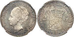 2 1/2 Gulden Regno dei Paesi Bassi Argento Guglielmina dei Paesi Bassi (1880 - 1962)