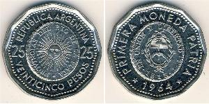 25 Peso Argentina (1861 - ) Acciaio/Nichel