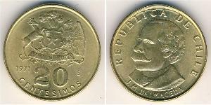 20 Centesimo Chile Brass