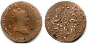 2 Maravedi Kingdom of Spain (1814 - 1873) Copper