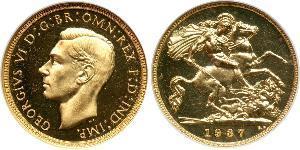 1/2 Sovereign Reino Unido (1922-) Oro Jorge VI (1895-1952)