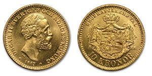 1 Krone United Kingdoms of Sweden and Norway (1814-1905) Gold Oscar II of Sweden (1829-1907)