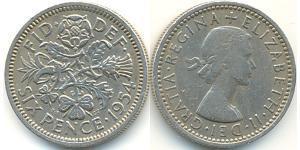 1 Sixpence / 6 Penny United Kingdom (1922-) Copper/Nickel Elizabeth II (1926-)