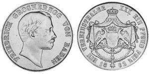 1 Талер Велике герцогство Баден (1806-1918) Срібло Frederick I, Grand Duke of Baden (1826 - 1907)