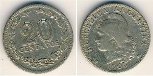 20 Centavo Argentina (1861 - ) Rame/Nichel