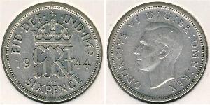1 Sixpence / 6 Penny Feriind Kiningrik (1922-) Argent George V (1865-1936)