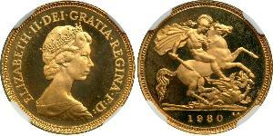 1/2 Sovereign Reino Unido (1922-) Oro Isabel II (1926-)