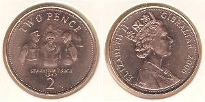 2 Penny Gibraltar Bronze