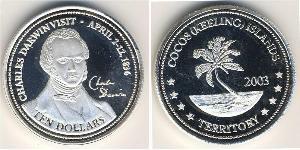 10 Dollar Cocos (Keeling) Islands Silver Charles Robert Darwin (1809 - 1882)