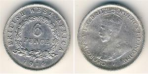 6 Penny British West Africa (1780 - 1960) Silver George V of the United Kingdom (1865-1936)
