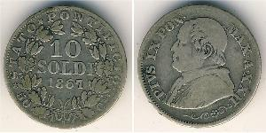 10 Soldo États pontificaux (752-1870) Argent Pie IX (1792- 1878)