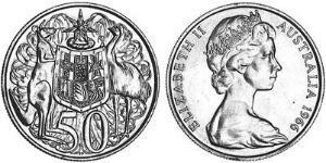 50 Cent Australia (1939 - ) Silver Elizabeth II (1926-)