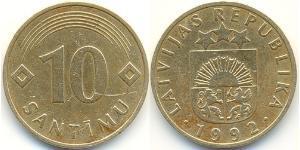10 Santims Latvia (1991 - ) Brass/Nickel
