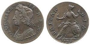 1/2 Penny Regno Unito di Gran Bretagna (1707-1801) Rame Giorgio II (1683-1760)