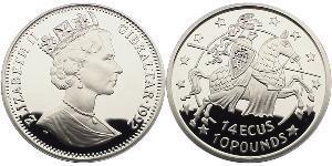 10 Pound / 14 Ecu Gibraltar Silver Elizabeth II (1926-)