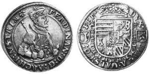 1/2 Thaler Alsacia Plata Fernando II de Austria (1529 – 1595)