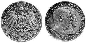 3 Mark Royaume de Bavière (1806 - 1918) Argent