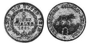 6 Thaler Anhalt-Bernburg (1603 - 1863) Silber Alexander Carl ,Anhalt-Bernburg (1805 – 1863)