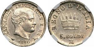 5 Centesimo Kingdom of Italy (Napoleonic) (1805–1814) Silver Napoleon Bonaparte  (1769 - 1821)