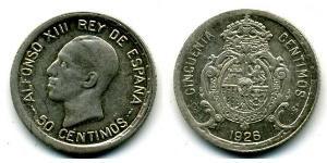 50 Centimo Kingdom of Spain (1874 - 1931) Silver