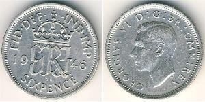 1 Sixpence United Kingdom (1707 - ) Silver George VI (1895-1952)