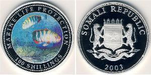 100 Shilling Somalie Argent