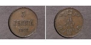 5 Penny Grand-duché de Finlande (1809 - 1917)  Alexandre III (1845 -1894)