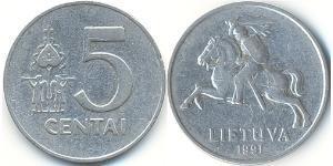 5 Cent Lituanie (1991 - ) Aluminium