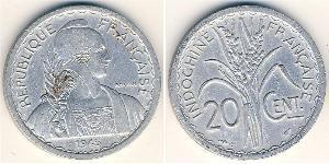 20 Cent French Indochina (1887-1954) Aluminium