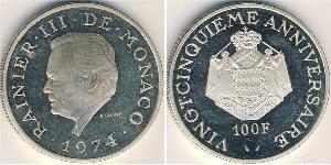 100 Franc Principato di Monaco Argento