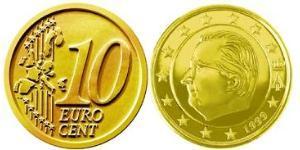 10 Eurocent Bélgica Aluminio/Cobre/Tin/Zinc Albert II de Bélgica