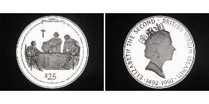 25 Dollar Virgin Islands Silver Elizabeth II (1926-) / Christopher Columbus (1451 - 1506)