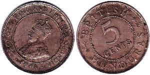 5 Cent British Honduras (1862-1981)  George V of the United Kingdom (1865-1936)