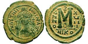 Follis Empire byzantin (330-1453) Bronze Justinien I (482-565)
