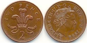 2 Penny United Kingdom (1922-)  Elizabeth II (1926-)
