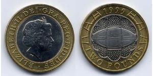 2 Pound United Kingdom (1922-) Bimetal Elizabeth II (1926-)